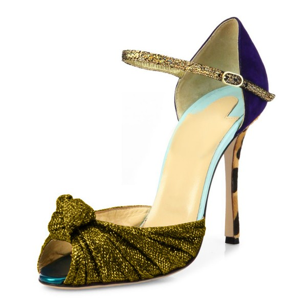 Gold Evening Shoes Peep Toe Sparkly Sandals with Bow image 6