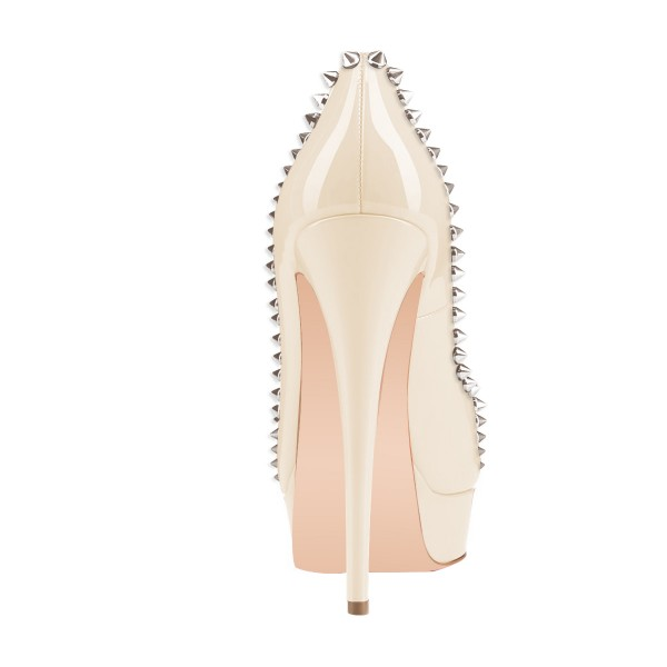 Nude Peep Toe Heels Platform Pumps with Rivets image 2