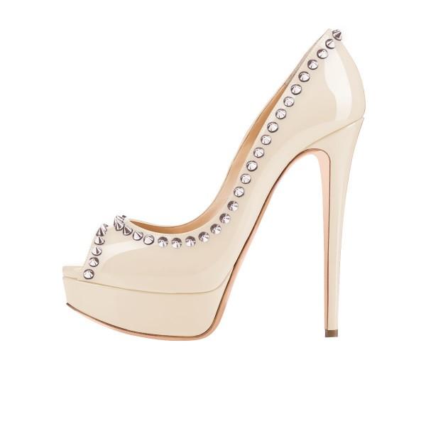 Nude Peep Toe Heels Platform Pumps with Rivets image 3