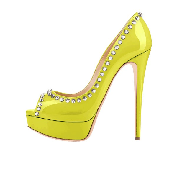 Lime Green Peep Toe Heels Studded Platform Pumps image 3