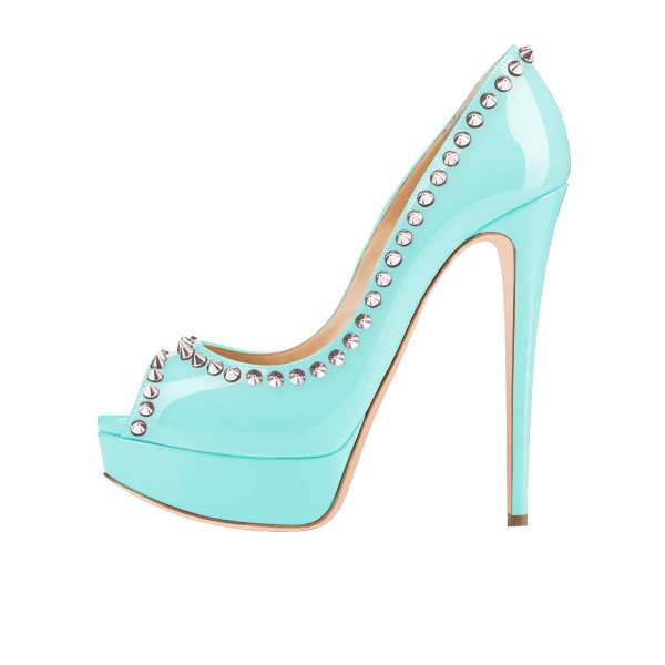 Cyan Rivets Peep Toe Platform Pumps Stiletto Heels Studs Shoes image 2