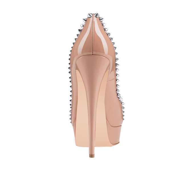 Blush Rivets Peep Toe Heels Platform Pumps  Stiletto Heels Sexy Pumps image 3