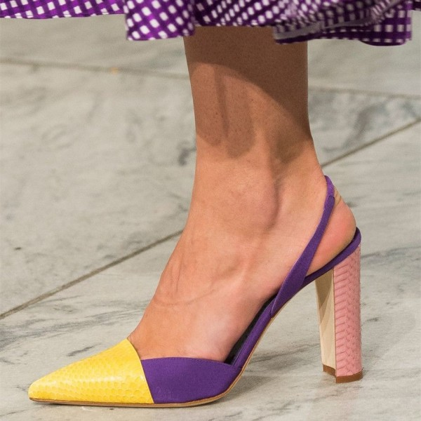 Yellow and Purple Python Chunky Heels Pointy Toe Slingback Pumps image 1