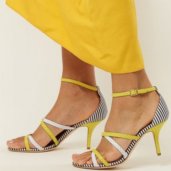 Yellow and White Polka Dot Stiletto Heel Ankle Strap Sandals image 1