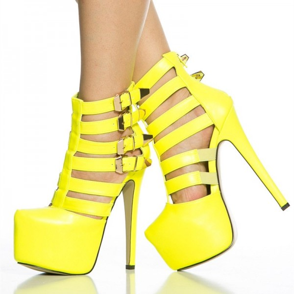Yellow Sexy Shoes Platform Stiletto Heel Summer Boots with Buckles image 2