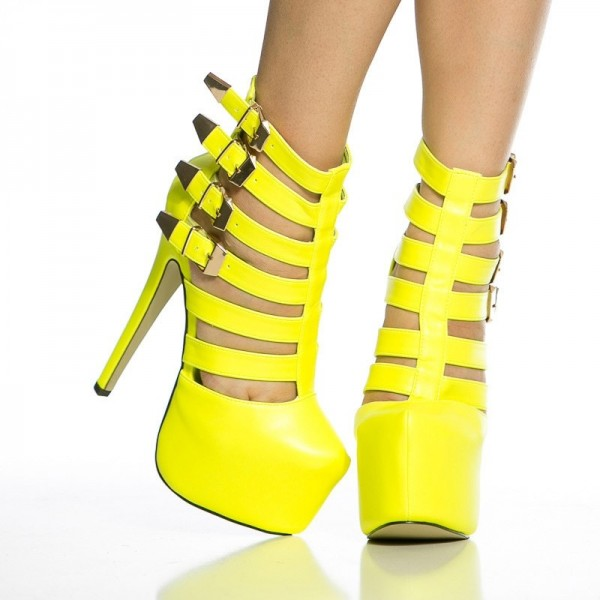 Yellow Sexy Shoes Platform Stiletto Heel Summer Boots with Buckles image 4