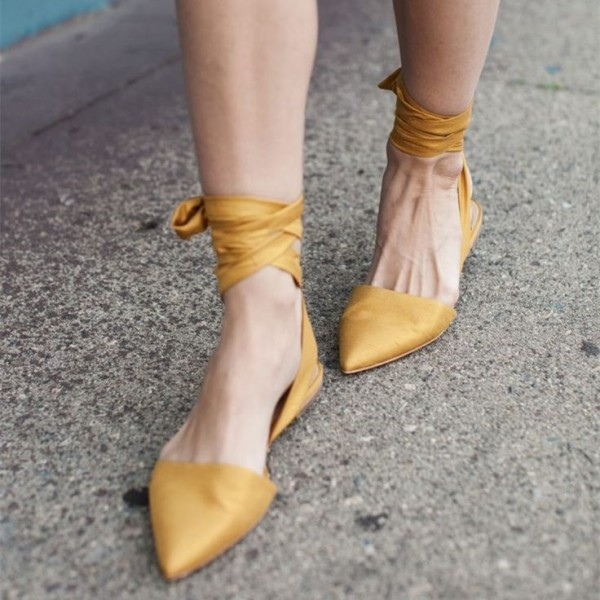 Yellow Pointy Toe Flat Strappy Shoes US Size 3-15 image 1