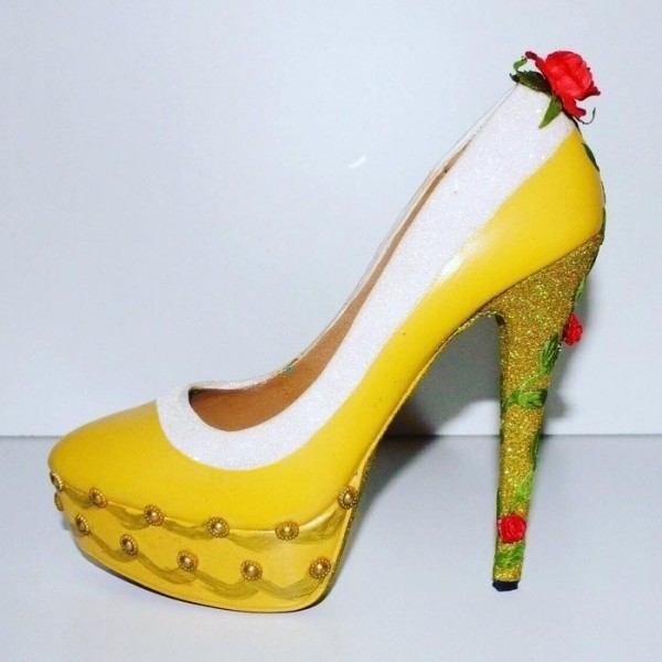 Yellow Beauty and the Beast Rose Glitter Stiletto Heels Pumps image 1
