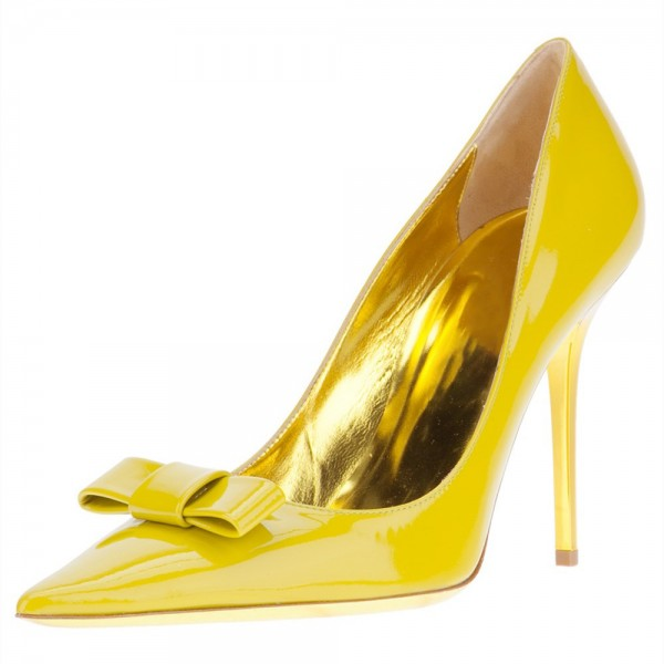 Yellow Bow Heels Pointy Toe Patent Leather Stiletto Heel Pumps image 1