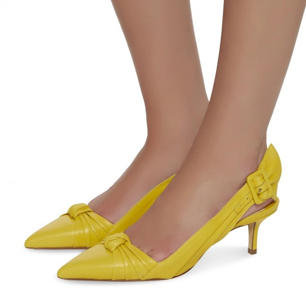 12627e64bae Yellow Buckle Kitten Heel Slingback Pumps with Bow image 1 ...