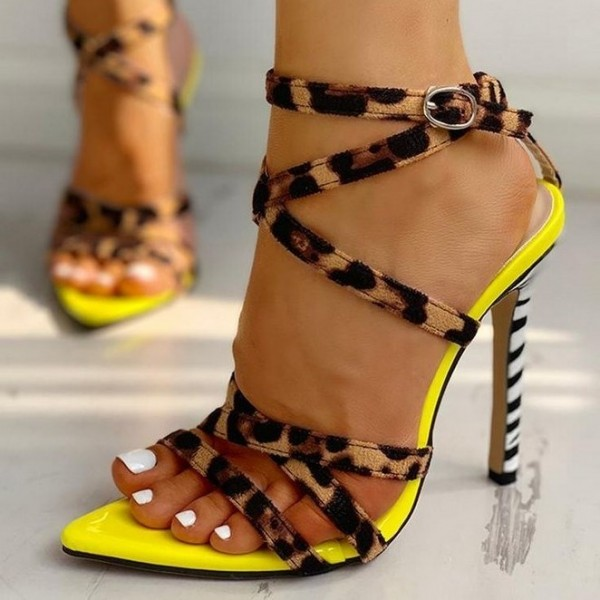 Yellow Cross Over Leopard Print Heels Stiletto Heel Sandals image 1