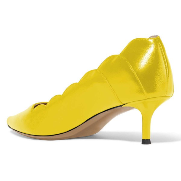 Yellow Curvy Kitten Heels Pumps image 3
