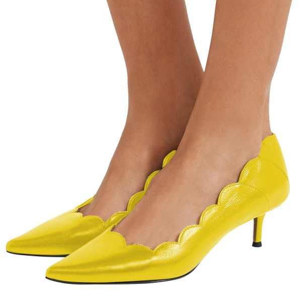 Yellow Curvy Kitten Heels Pumps image 1