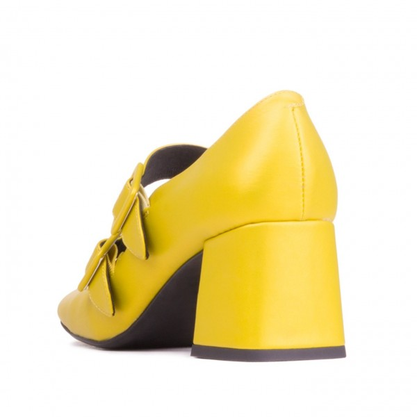 Yellow Double Buckles Square Toe Block Heel Mary Jane Shoes image 3