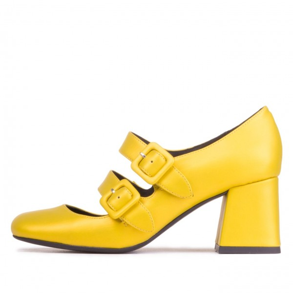 Yellow Double Buckles Square Toe Block Heel Mary Jane Shoes image 2