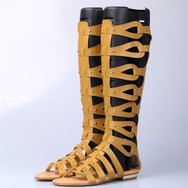Yellow Knee-high Roman Sandals Vintage Flats Gladiator Sandals image 2