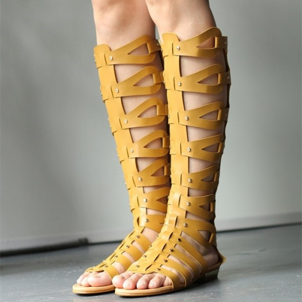 Yellow Knee-high Roman Sandals Vintage Flats Gladiator Sandals image 1