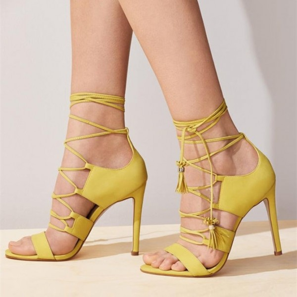 1a3907fa92 Yellow Lace up Sandals Tassels Open Toe Stiletto Heels Strappy Sandals  image 1 ...