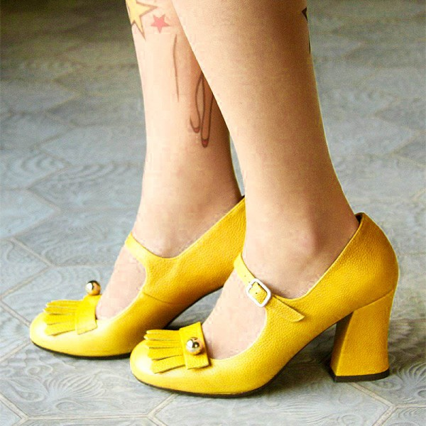 94f6b10d879 Yellow Mary Jane Shoes Chunky Heels Fringe Vintage Shoes