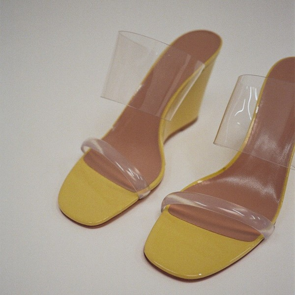 Yellow Open Toe Clear Heels Mules Wedge Sandals for Date ...