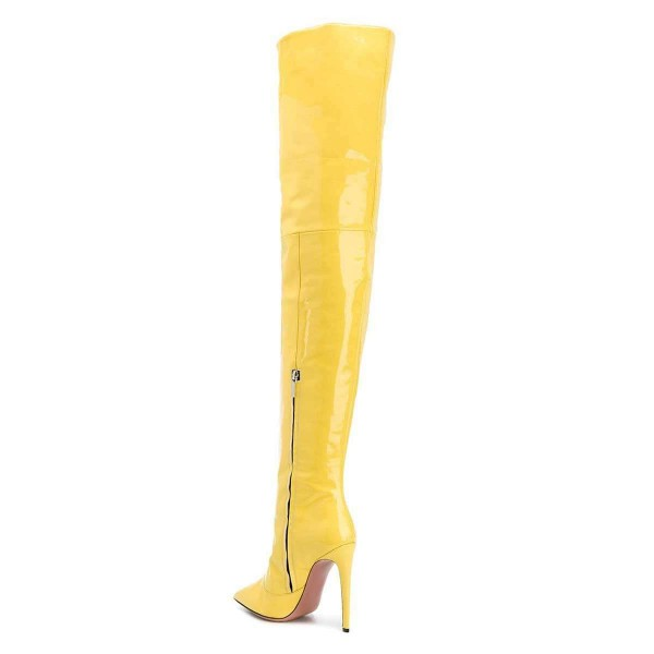 Yellow Patent Leather Thigh High Heel Boots image 3