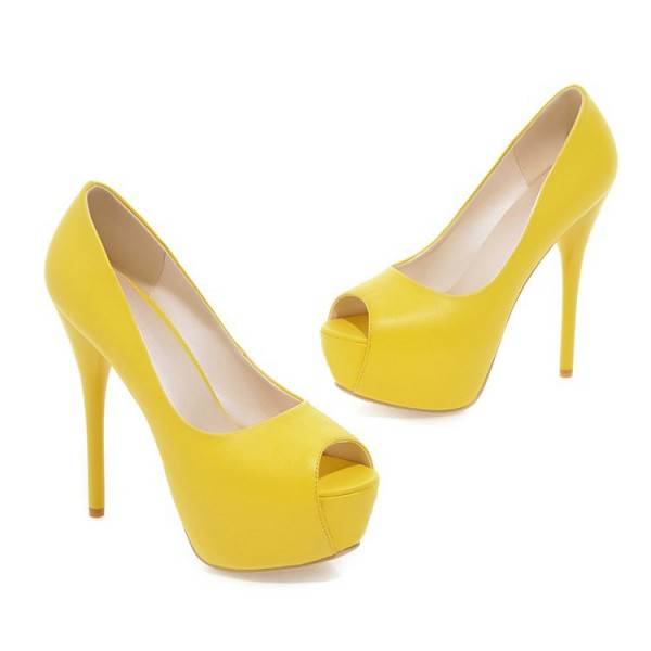 Women's Yellow Peep Toe Heels Stilettos Heels Pumps Platform Heels image 2