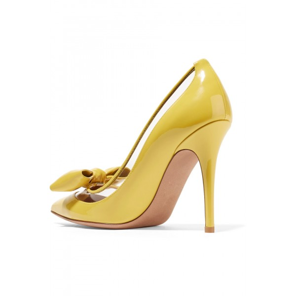 Yellow Pointy Toe Bow Heels Pumps image 2