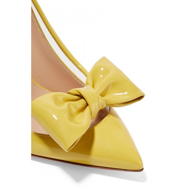 Yellow Pointy Toe Bow Heels Pumps image 3