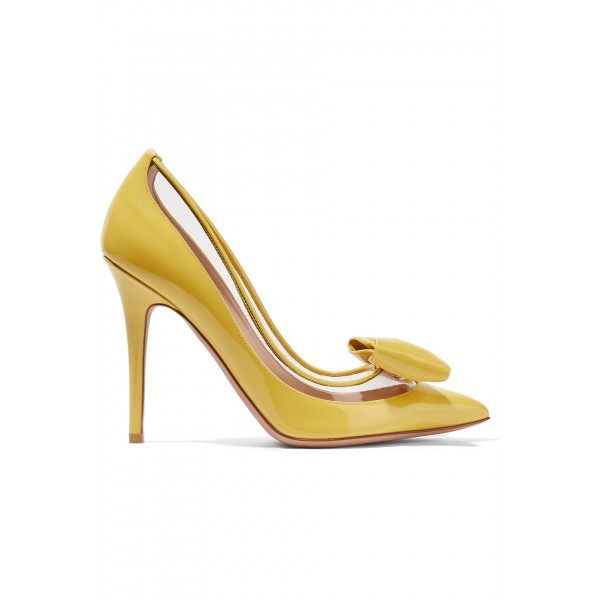 Yellow Pointy Toe Bow Heels Pumps image 4
