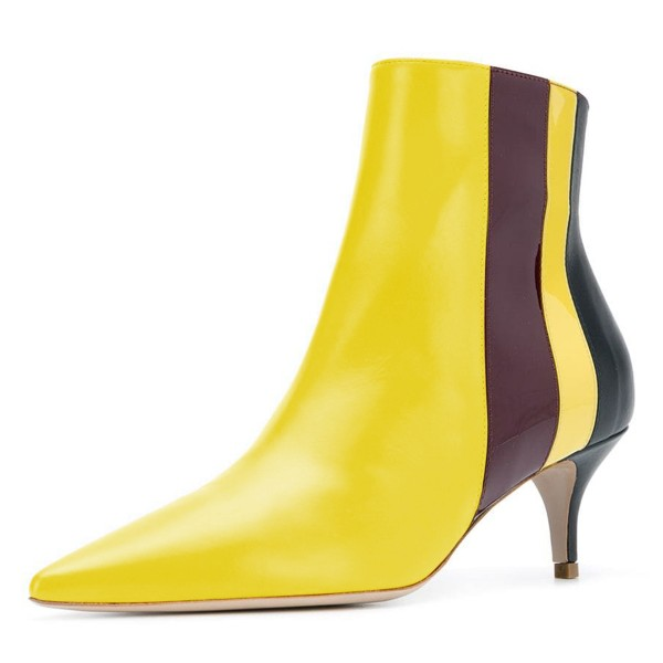 Yellow Pointy Toe Kitten Heel Boots Multicolor Stripes Ankle Booties image 1