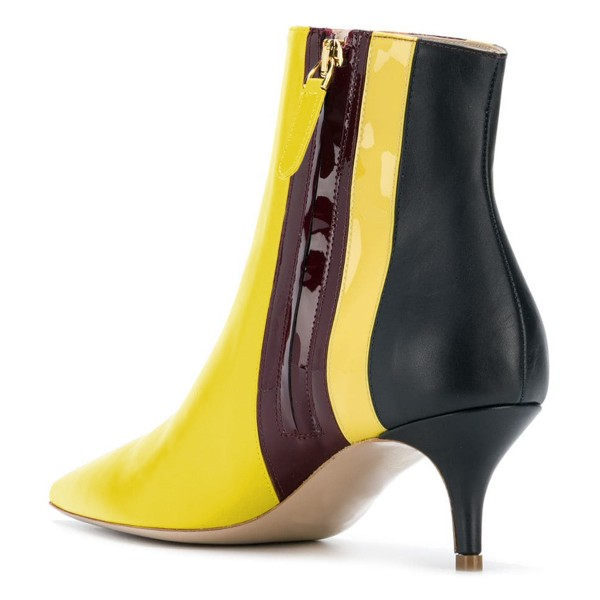 Yellow Pointy Toe Kitten Heel Boots Multicolor Stripes Ankle Booties image 4