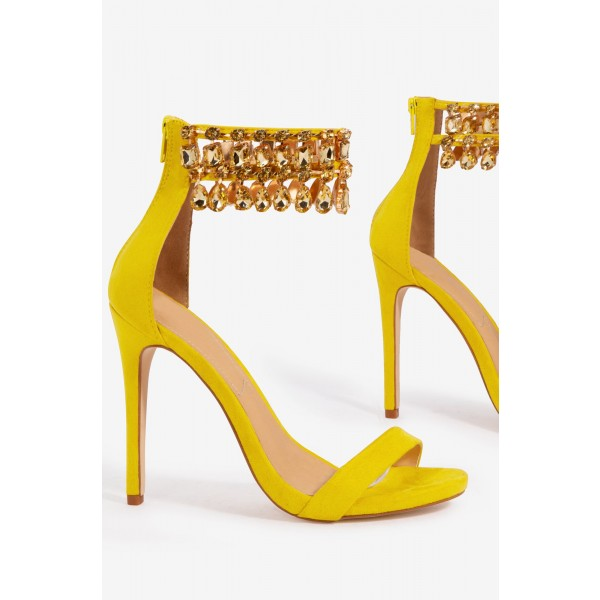 Yellow Rhinestone Open Toe Stiletto Heels Ankle Strap Sandals image 3