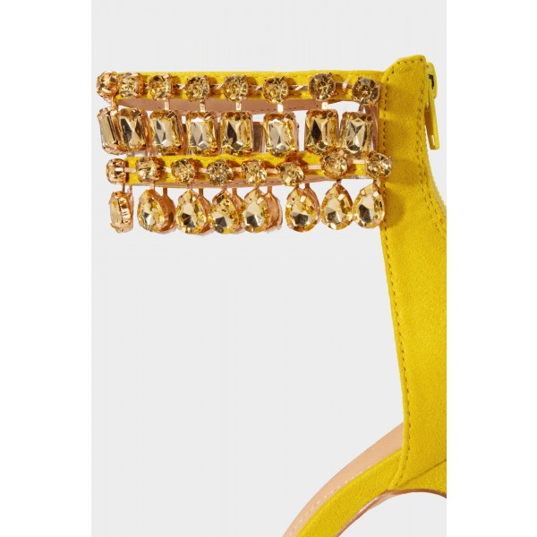 Yellow Rhinestone Open Toe Stiletto Heels Ankle Strap Sandals image 4
