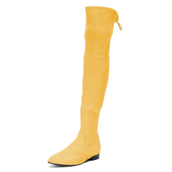 1b8fb2e709f Yellow Round Toe Chunky Heels Long Boots Suede Over-the-knee Boots image 1  ...