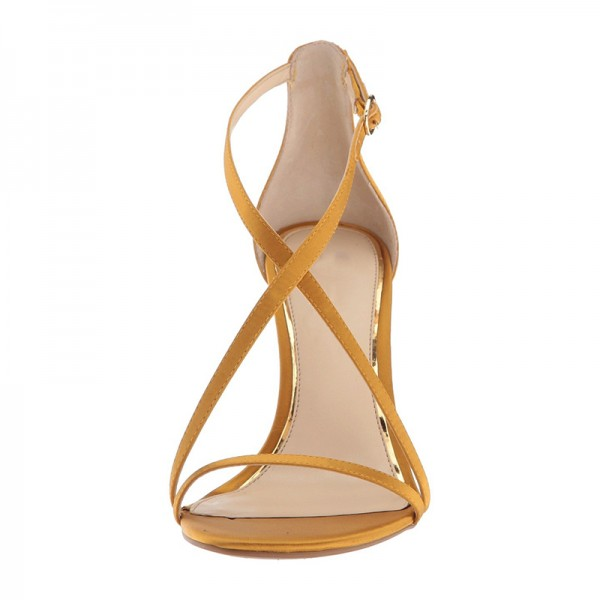 Yellow Satin Cross Over Stiletto Heels Sandals image 3