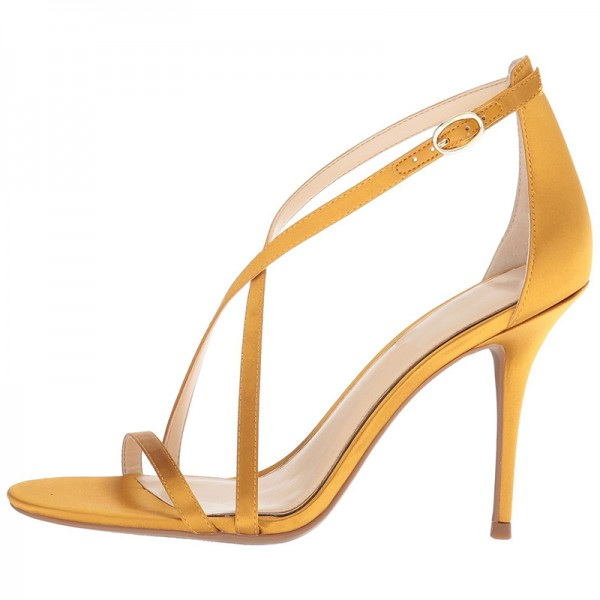 Yellow Satin Cross Over Stiletto Heels Sandals image 4