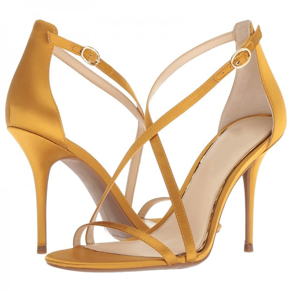 Yellow Satin Cross Over Stiletto Heels Sandals image 1