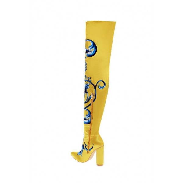 Yellow Satin Floral Chunky Heel Boots Thigh High Boots image 2
