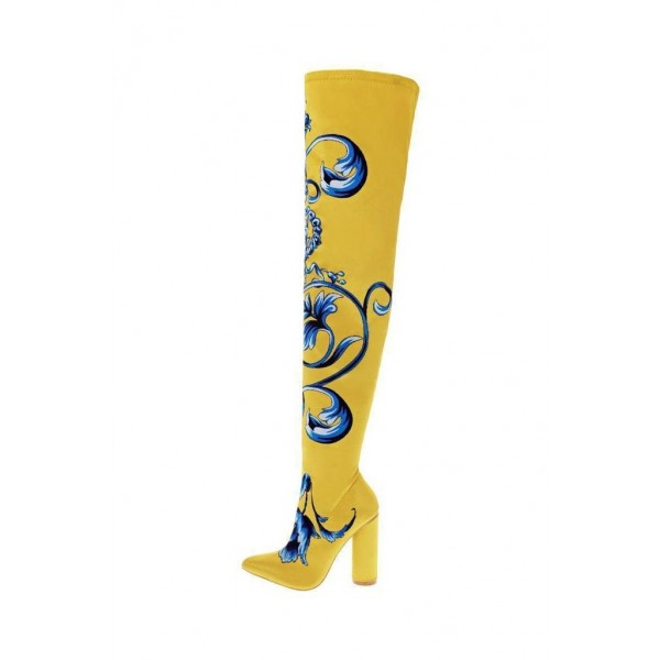 Yellow Satin Floral Chunky Heel Boots Thigh High Boots image 3