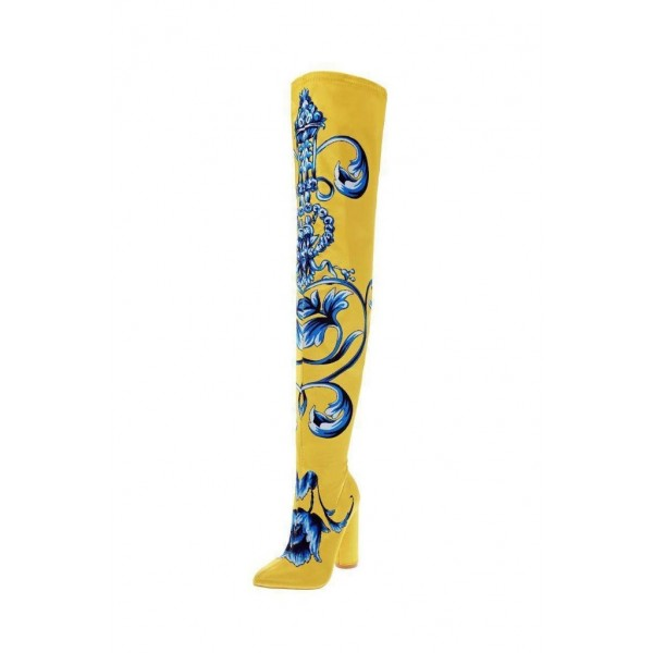 Yellow Satin Floral Chunky Heel Boots Thigh High Boots image 1