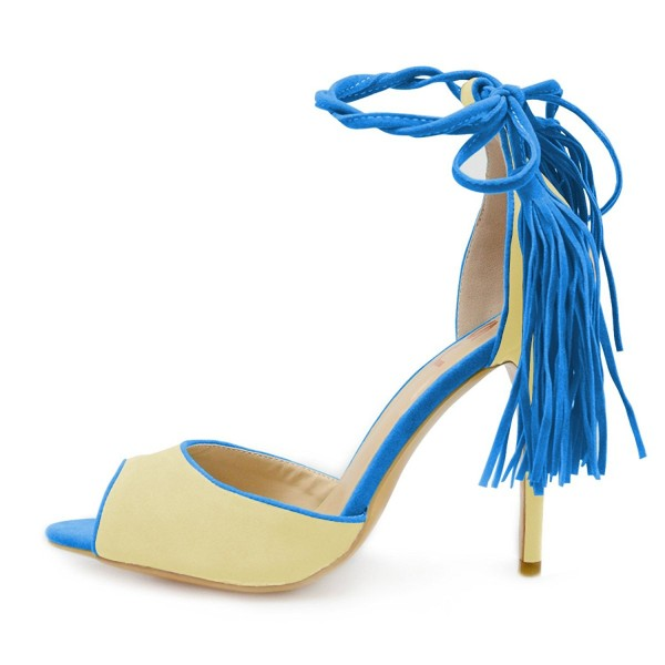 Blue and Yellow Tassel Sandals Peep Toe Suede Stiletto Heels image 5