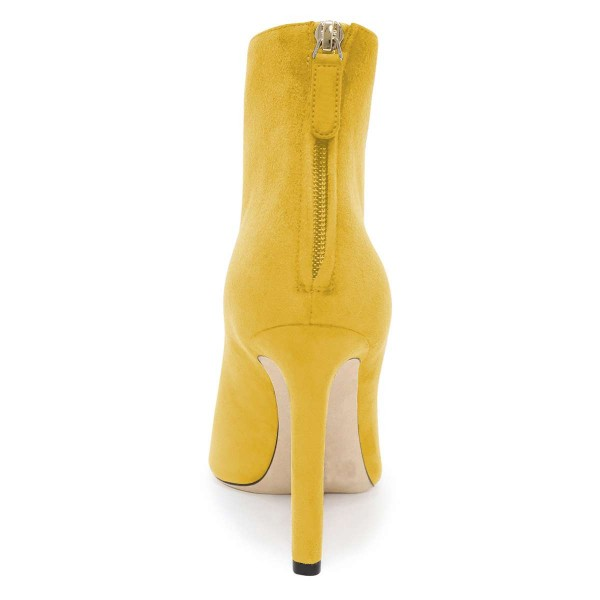 Yellow Suede Boots Cut Out Stiletto Heel Ankle Boots image 4
