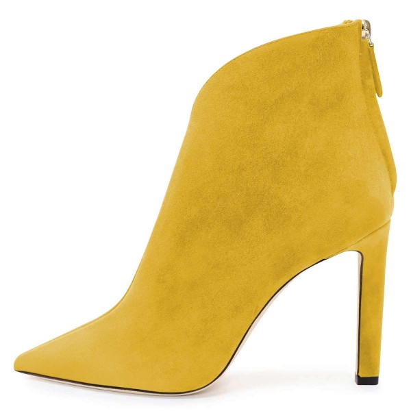 Yellow Suede Boots Cut Out Stiletto Heel Ankle Boots image 3