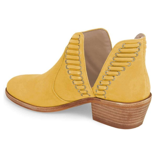 Yellow Suede Chunky Heel Ankle Boots Summer Boots image 2