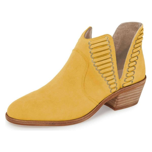 Yellow Suede Chunky Heel Ankle Boots Summer Boots image 1