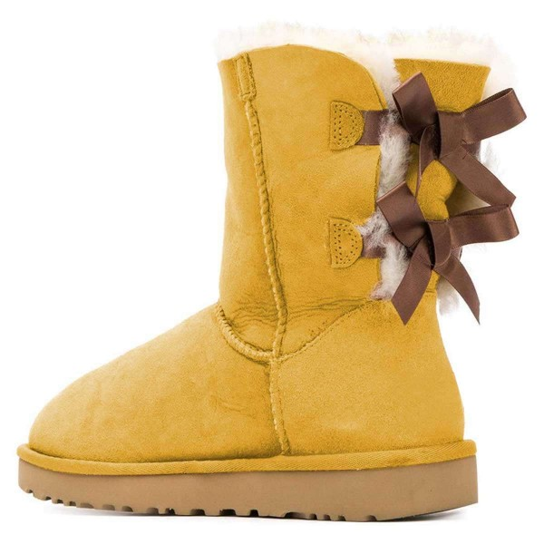 Yellow Suede Flat Winter Boots with Bow image 2
