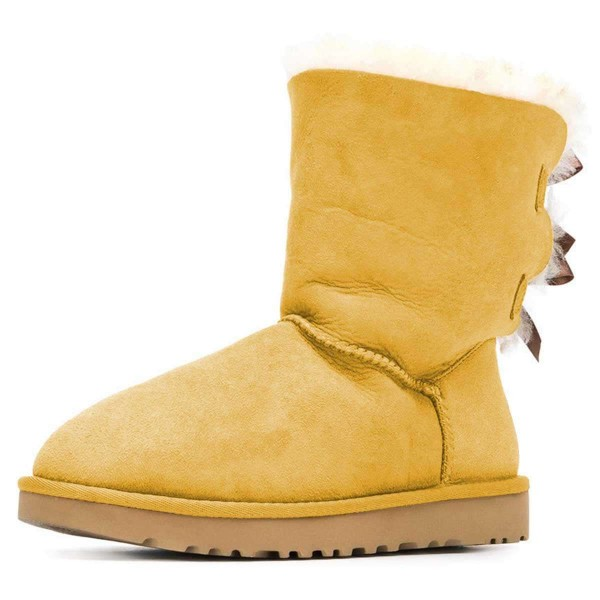 Yellow Suede Flat Winter Boots with Bow image 1