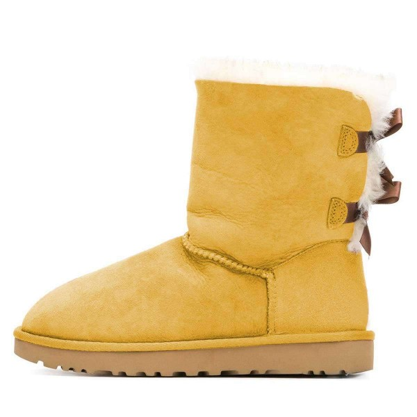 Yellow Suede Flat Winter Boots with Bow image 3