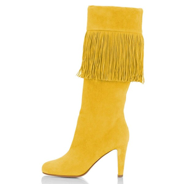 Yellow Suede Fringe Chunky Heel Boots Knee-high Boots image 2