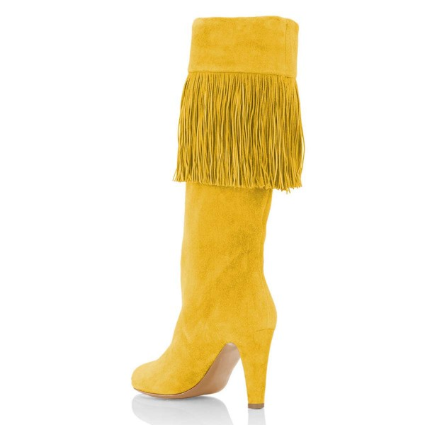 Yellow Suede Fringe Chunky Heel Boots Knee-high Boots image 3